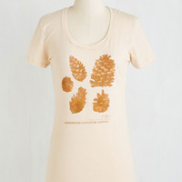 Rustic Mid-length Short Sleeves On Cloud Pine Tee by ModCloth