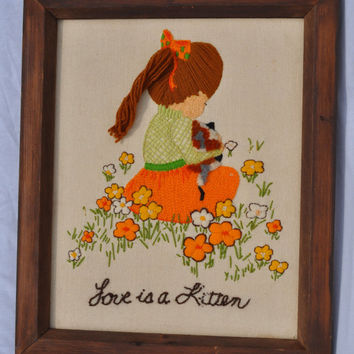 Vintage Love is Kitten Crewel Embroidery Wall Hanging Cat Retro