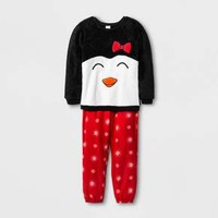 Girls' Penguin Cozy Long Sleeve Pajama Set With Pants - Cat & Jack™ Black