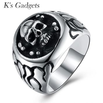 Skeleton Mens Signet Rings Vintage 316LStainless Steel Skull For Man Cool Punk Male Ring Personality Style Jewelry