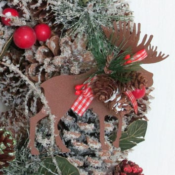 Pinecone Wreath, Tin Moose and Deer Wall Decor, Rustic Wall Hanging