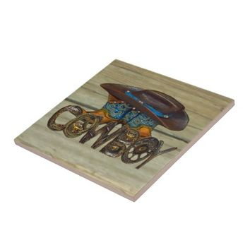 Country Wood Cowboy Ceramic Tile