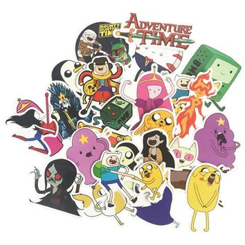 25 pcs Adventure Time Cartoon Finn Jake Toys Cool Stickers For Children Luggage Notebook Laptop iPhone Sticker Bomb