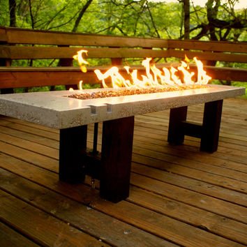 Fire pit - fire table - concrete and glass - propane fired