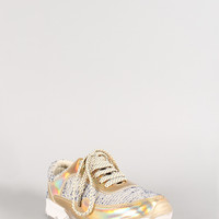 Bamboo Hologram Tweed Lace Up Sneaker