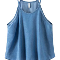 Washed Denim Halter Top