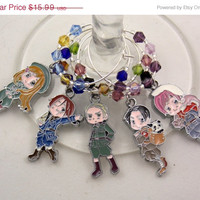 Hetalia inspired wine glass charms set of 5 anime charms handmade wine charms party chibi JPOP wine charms