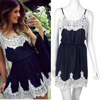Women White Lace Patchwork Black Dress Cute Vestidos Women Summer Dress = 1955674372