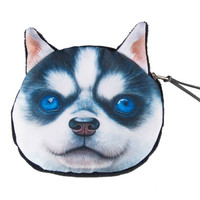 Blue Eyed Husky Dog Coin Purse