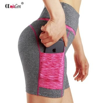 Women's Yoga Shorts With Pocket Breathable Quick Dry Fitness Running Short Tights Sport Yoga Leggings