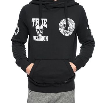 True Religion European Multi Logo Mens Hooded Fleece Pullover - Jet Black