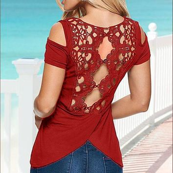VONE2B5 Casual Summer Sexy Women Blouses Lace Crochet Short Sleeve Off Shoulder Backless Hollow Out Tops Shirt Plus Size Mavodovama