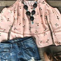 Be classy with a little sassy, heads will turn for you in the ''What's Your Number'' Top!Spaghetti tie straps, cold shoulder with semi-bell sleeves, scoop neck, floral print, lace detail.