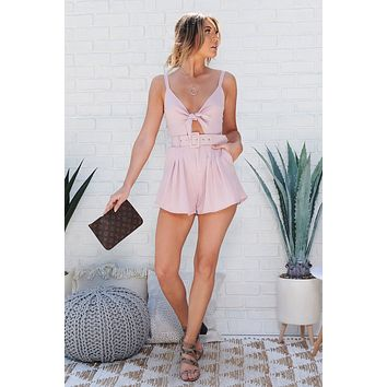 Pleats And Thank You Romper (Blush)