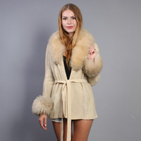70s FUR Collar CARDIGAN / Fluffy SHEARLING Belted Sweater Coat