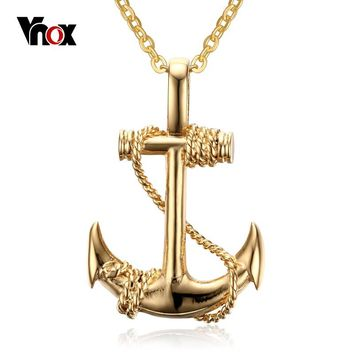 Vnox Fashion Anchor Metal Necklace & Pendant Navy Style Gold-color for Women
