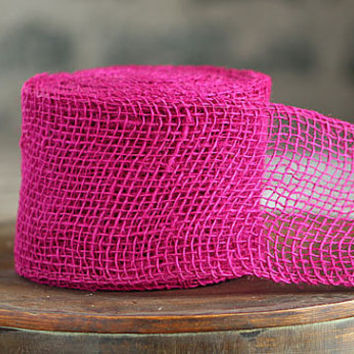 Fuchsia Pink Burlap Fabric Roll 30 Feet High Quality Pink Jute 2.5 Inch x 10 Yards Wholesale Pink Rope Fiber Jute  Burlap Rustic Wedding