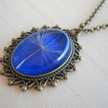Dandelion seed oval pendant, resin jewelry, antique brass necklace