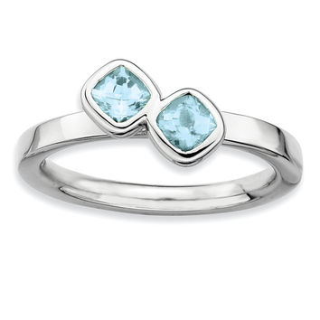 Sterling Silver Stackable Expressions Dbl Cushion Cut Aquamarine Ring
