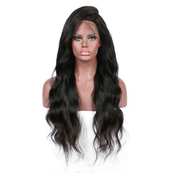 26 inch Black Women Curly Wig Glueless Full Lace Wigs Remy Lace Front Hair