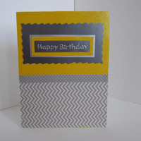 Happy Birthday! - Yellow and Gray Chevron Glitter Handmade  Greeting Card -