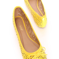 Yellow Perforated Closed Toe Flats Faux Leather