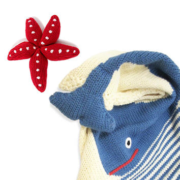 Organic Whale Baby Blanket And Rattle Gift Set
