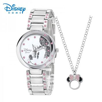 Disney Watches Fashion Casual Stainless Steel Strap Minnie Quartz Watch Women Watches Silver Rhinestones Geneva Relogio Feminino