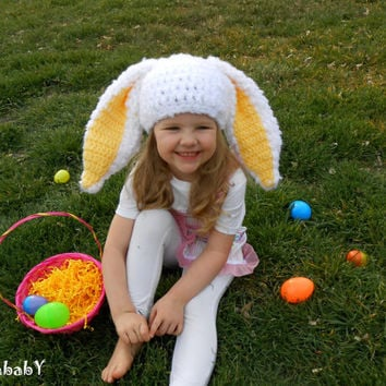 Bunny Hat with Big Floppy Ears Easter Bunny Hats Yellow Clothes For Easter Photo Shoot