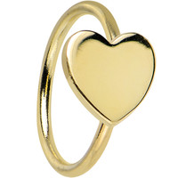 """20 Gauge 5/16"""" Solid 14KT Yellow Gold Heart Captive Ring 