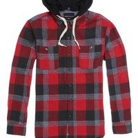 Modern Amusement Tanner Hooded Flannel Shirt - Mens Shirt - Red
