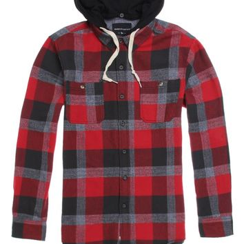 8343c416ec Modern Amusement Tanner Hooded Flannel Shirt - Mens Shirt - Red