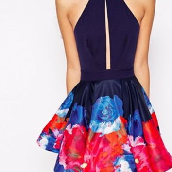Ginger Fizz Monet Floral Boarder Print Dress With Keyhole Detail