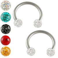 Hard Candy Crystal Circular Barbell Horseshoe [Gauge: 16G - 1.2mm / Diameter: 10mm / Ball Size: 3mm] 316L Surgical Steel & Ferido (Various...