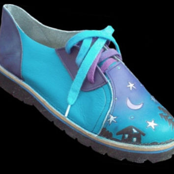 Handmade Custom Leather Shoes. Cowhide,airbrushed Turquoise Blue Purple, Custom Made or Size 5, 6, 7, 8, 9, 10 Moon Stars cabin in the woods