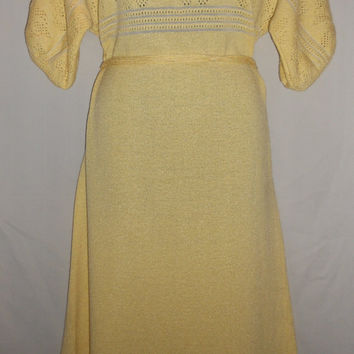 Vintage 80s Dalton Yellow Knit Heart Dress Perfect Condition