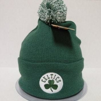 Adidas NBA Boston Celtics Logo Team Color Cuffed Retro Knit Beanie Cap with Pom