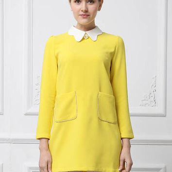 Yellow Long Sleeve Dress with Pockets