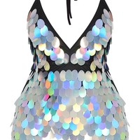 Silver Holographic Sequin Bodycon Dress