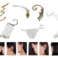Bundle Monster 6pc Punk Style Ear Wrap Charm Ear Cuff Earring Stud Fashion Accessory for Pierced + Non Pierced Ears - Mixed Lot