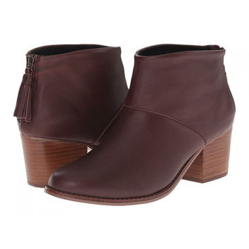 TOMS Lelia Oxblood Leather Ankle Boot