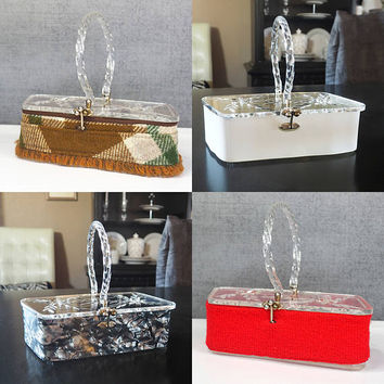 4 in 1 Lucite Purse by Florida Handbags of Miami with Changeable Wraps, Skins