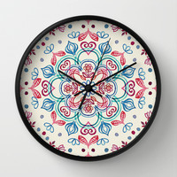 Pastel Blue, Pink & Red Watercolor Floral Pattern on Cream Wall Clock by Micklyn