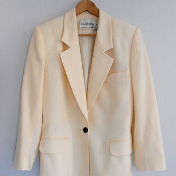 Blazer Vintage Cream Coat Jacket Outerwear Summer Spring Wool Coat size 12 FREE SHIPPING
