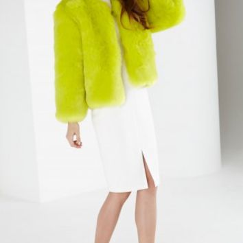 Lime Green Faux Fur Jacket | Women's Jackets | Lavish Alice