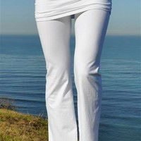 Pranayama Gathered Waist Fold-over Womens White Yoga Pants by Jala