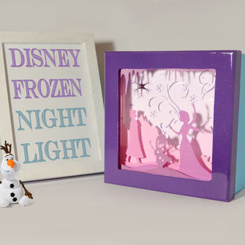 Frozen shadow box night light, Special night light, unique special gift, disney night light, kids room night light