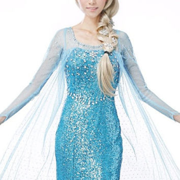 J707 Movies Frozen Snow Queen Elsa Cosplay Costume Deluxe Dress tailor made kid and adult