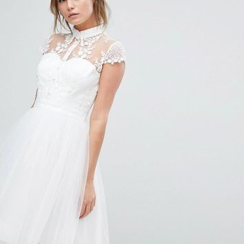 Chi Chi London Mini Tulle Skater Dress With Lace Collar at asos.com