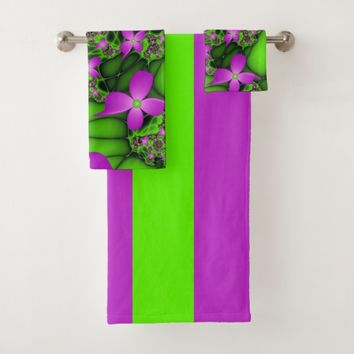 Modern Abstract Neon Pink Green Fractal Flowers Bath Towel Set